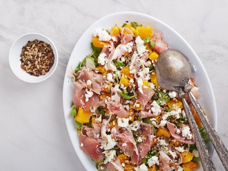 салат из запеченной тыквы, рецепты для диабетиков, кето рецепты, Roasted Pumpkin Salad