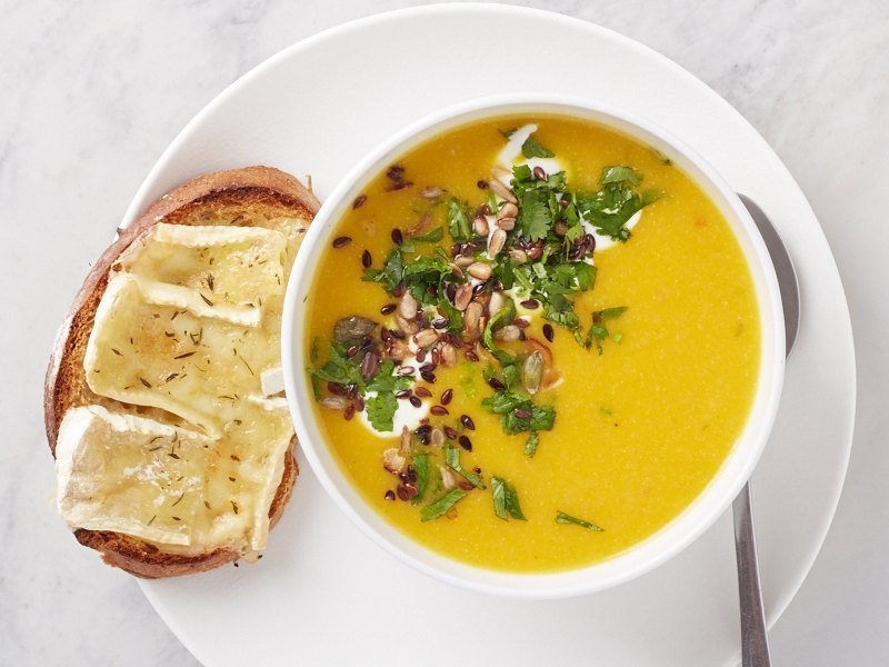 пряный тыквенный суп, Spicy Pumpkin Soup, low carb recipes,низкоуглеводные рецепты, пучок шпината