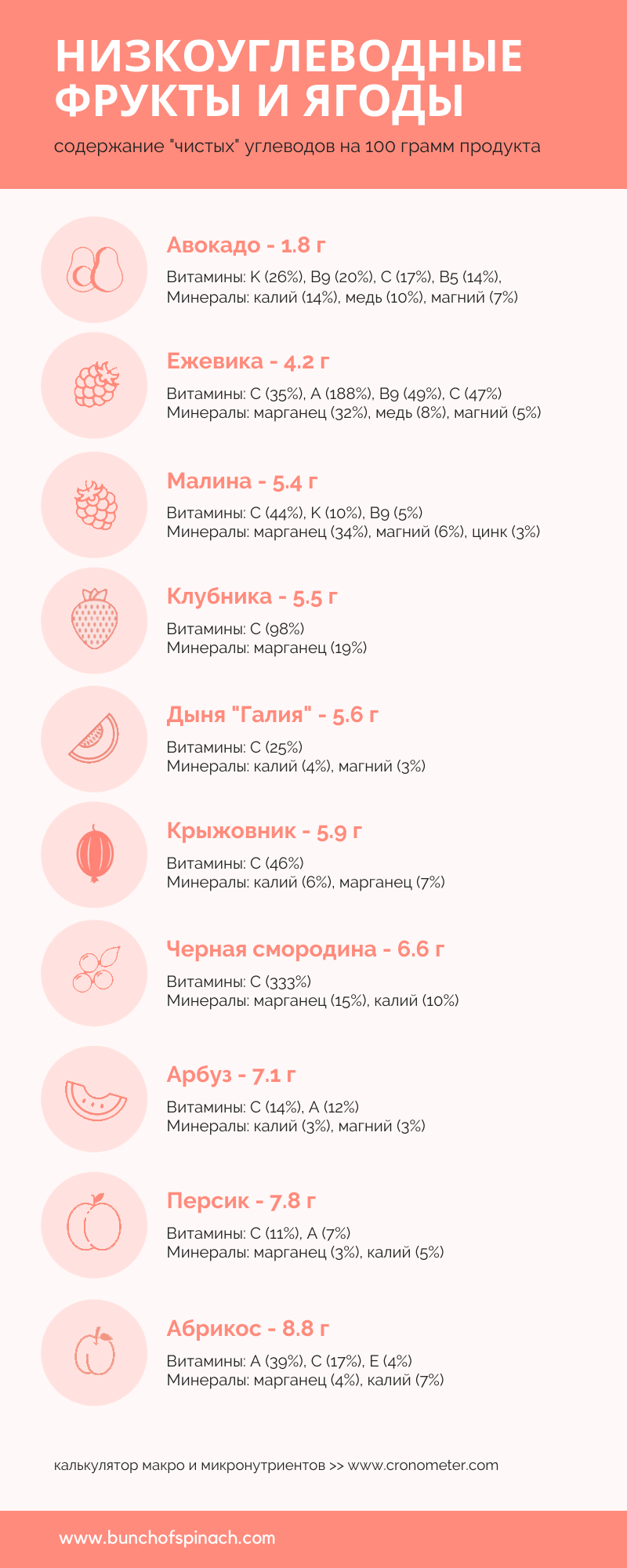 ягоды и фрукты на кето инфографика, низкоуглеводные фрукты топ 10
