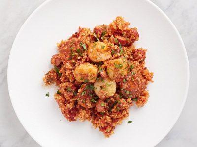 джамбалайя, рецепты низкоуглеводных блюд, кето-рецепты, пучок шпината